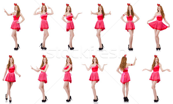 The pretty young model in mini pink dress isolated on white Stock photo © Elnur