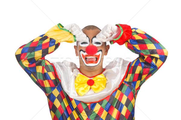 Stockfoto: Triest · clown · geïsoleerd · witte · glimlach · gezicht