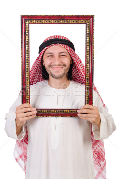 Arab with picture frame on white Stock photo © Elnur