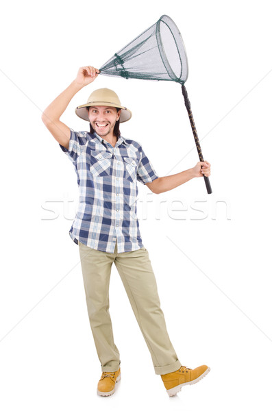 Funny guy with catching net on white Stock photo © Elnur