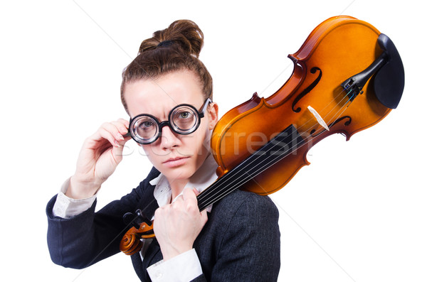 üzletasszony izolált fehér nő koncert hegedű Stock fotó © Elnur