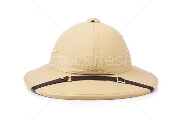 Szafari kalap izolált fehér dzsungel trópusi Stock fotó © Elnur