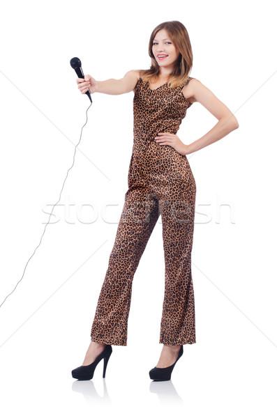 Donna cantante microfono bianco party capelli Foto d'archivio © Elnur