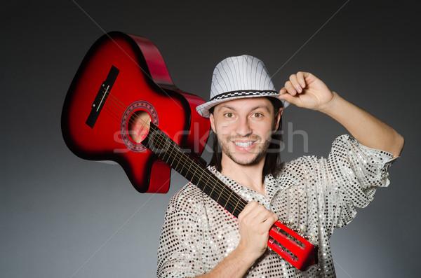 Stockfoto: Man · spelen · gitaar · concert · muziek · partij