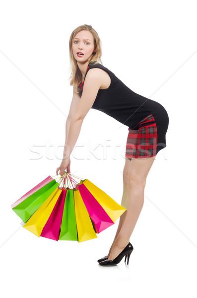 Donna shopping bianco felice moda bag Foto d'archivio © Elnur