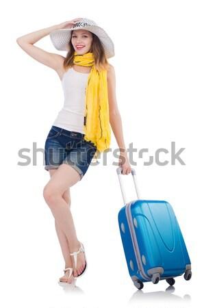Reizen vakantie bagage witte meisje gelukkig Stockfoto © Elnur