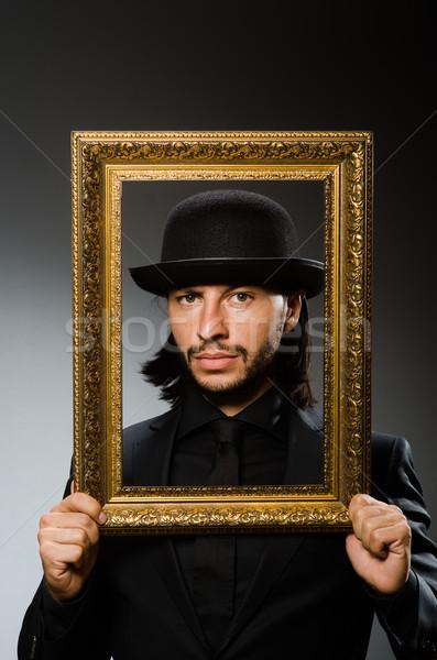 человека Hat фоторамка работу фон бизнесмен Сток-фото © Elnur