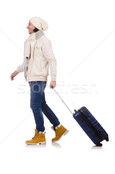 Foto stock: Homem · inverno · férias · empresário · viajar · caminhada