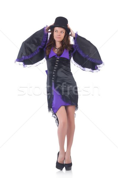 Fille violette robe noire isolé blanche Photo stock © Elnur