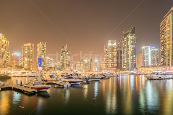 Dubai marina gökdelenler gece ofis Bina Stok fotoğraf © Elnur