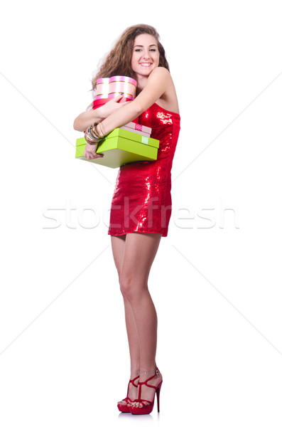 Femme robe rouge Noël cadeaux amour sexy Photo stock © Elnur