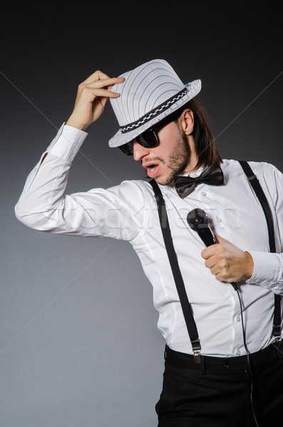 Grappig zanger microfoon concert man gelukkig Stockfoto © Elnur