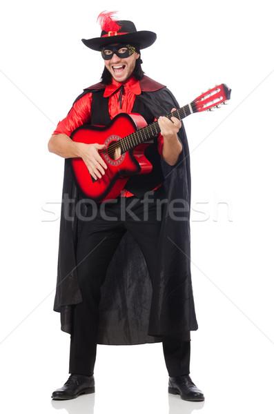 Stockfoto: Jonge · man · carnaval · jas · gitaar · geïsoleerd · witte