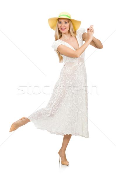 Nő hosszú nyár ruha kalap izolált Stock fotó © Elnur