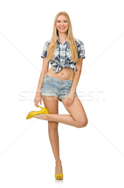 Mujer bonita jeans shorts aislado blanco mujer Foto stock © Elnur