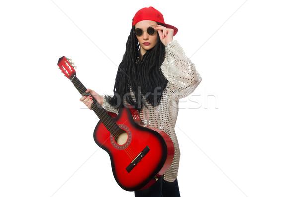 Vrouw gitarist geïsoleerd witte partij metaal Stockfoto © Elnur