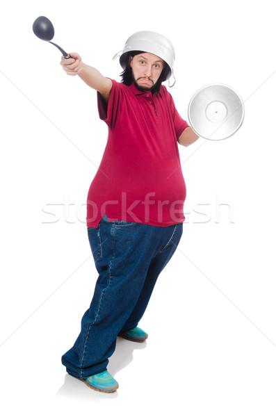 Fettleibig Mann isoliert weiß Gesundheit Abendessen Stock foto © Elnur
