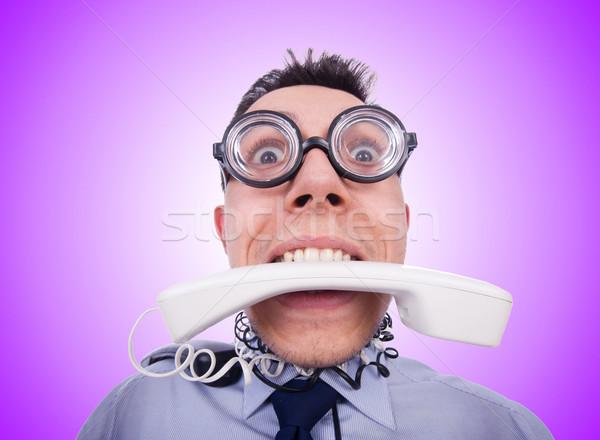 Crazy человека телефон белый работу бизнесмен Сток-фото © Elnur