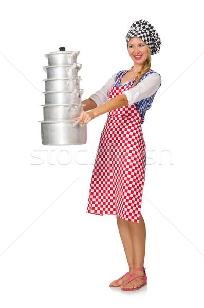 Vrouw kok geïsoleerd witte voedsel leuk Stockfoto © Elnur