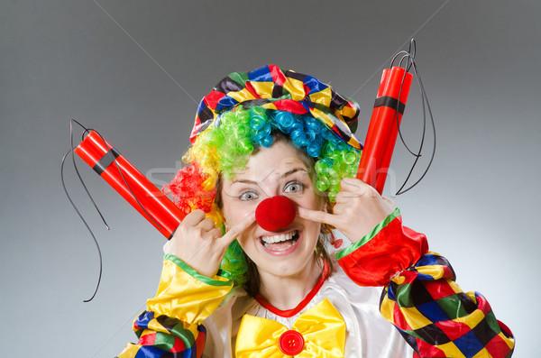 Clown dynamite drôle fête visage heureux Photo stock © Elnur