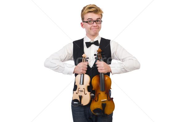 Engraçado violino jogador isolado branco homem Foto stock © Elnur