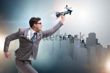 Nő fegyver izolált fehér üzletember szolgáltatás Stock fotó © Elnur