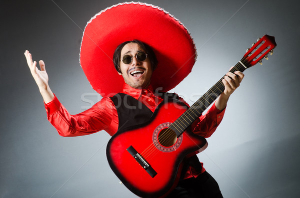 Stock fotó: Mexikói · gitáros · piros · buli · diszkó · jókedv