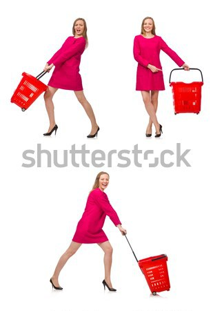 Stock photo: Funny woman with axe isolated on white