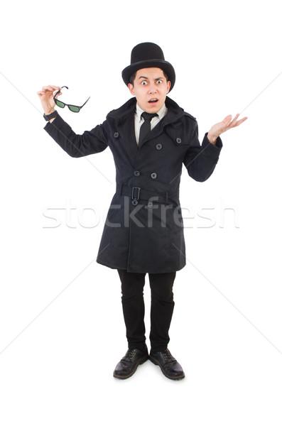 Сток-фото: молодые · детектив · черный · пальто · изолированный · белый