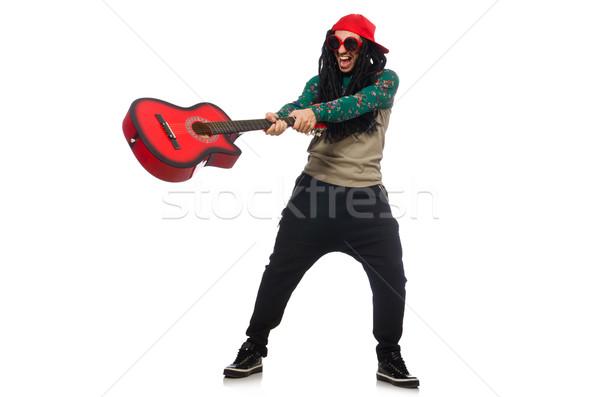 Adam gitar müzikal beyaz adam beyaz parti Stok fotoğraf © Elnur