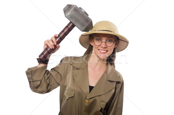 Mujer safari sombrero blanco construcción Foto stock © Elnur