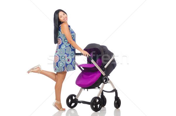 Gelukkig moeder baby kinderwagen vrouw familie Stockfoto © Elnur