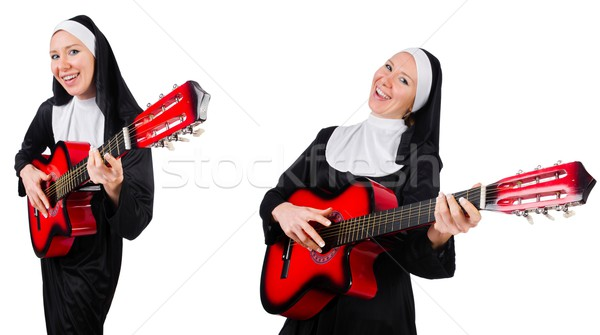 Nun with guitar isolated on white Stock photo © Elnur