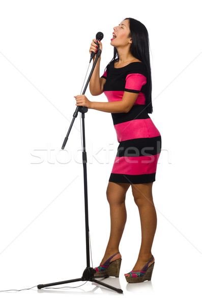 Stock photo: Woman singing in karaoke club on white