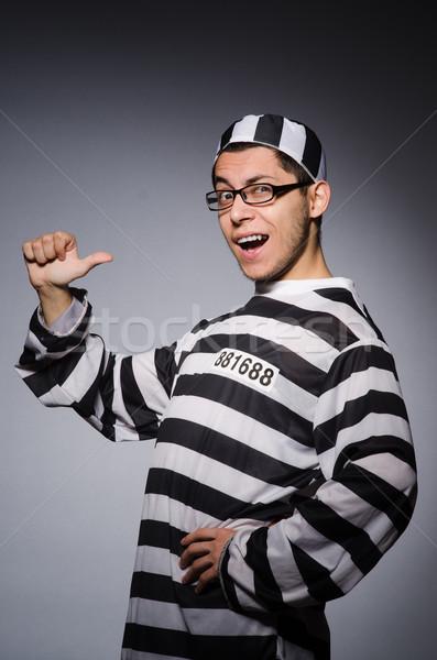 Jovem prisioneiro cinza homem preto branco Foto stock © Elnur