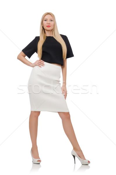 Blonde girl in black skirt isolated on white Stock photo © Elnur