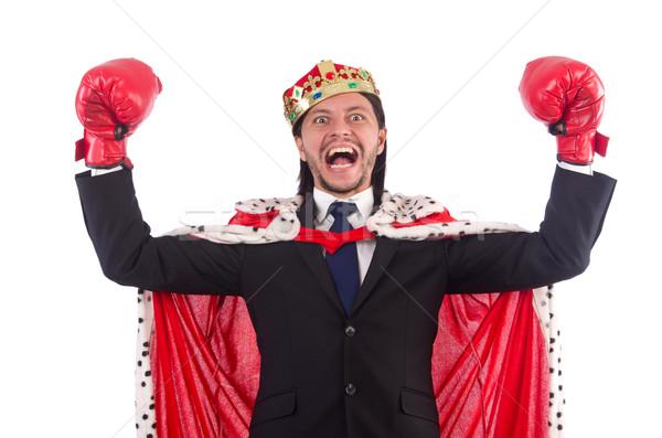 Króla biznesmen funny odizolowany biały pracy Zdjęcia stock © Elnur