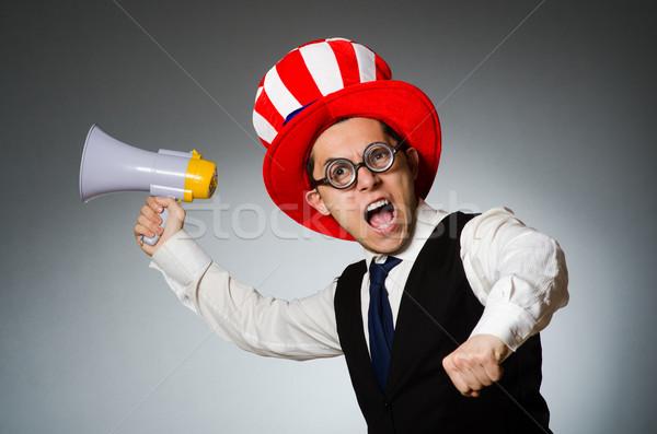 Hombre altavoz americano sombrero negocios Foto stock © Elnur