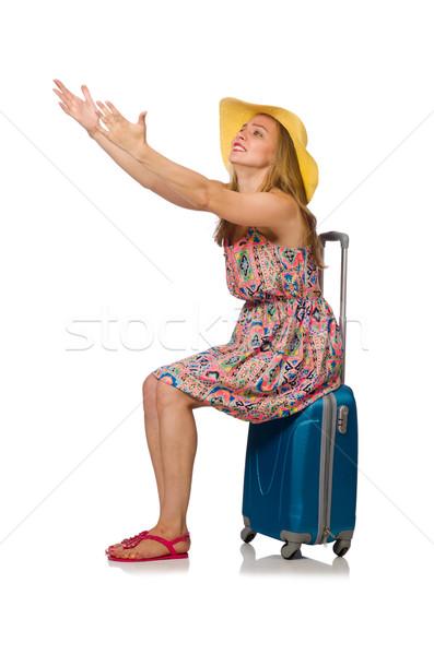 Vrouw koffer geïsoleerd witte meisje zomer Stockfoto © Elnur