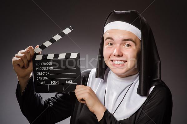 Funny człowiek zakonnica odzież krzyż Zdjęcia stock © Elnur