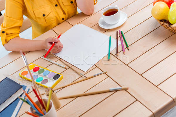 Young school gilr drawing pictures at home Stock photo © Elnur