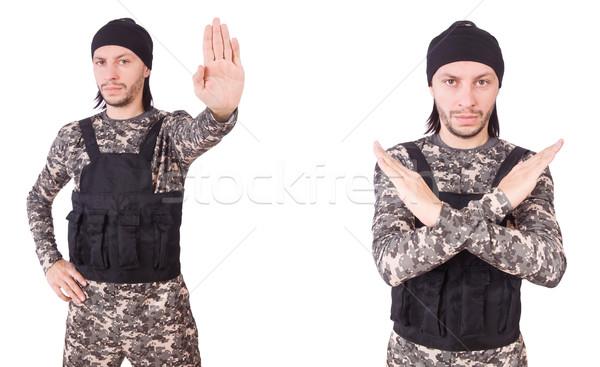 Soldado aislado blanco fondo seguridad retrato Foto stock © Elnur