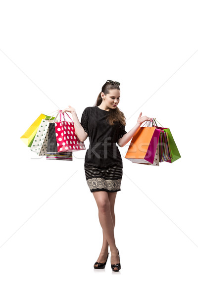 Happy woman after good shopping isolated on white Stock photo © Elnur