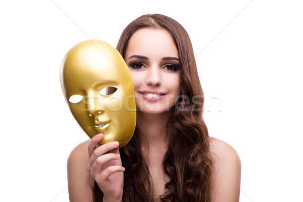Kobieta karnawałowe maska odizolowany biały twarz Zdjęcia stock © Elnur