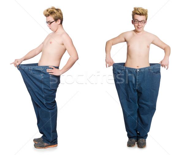 смешные человека брюки изолированный белый девушки Сток-фото © Elnur