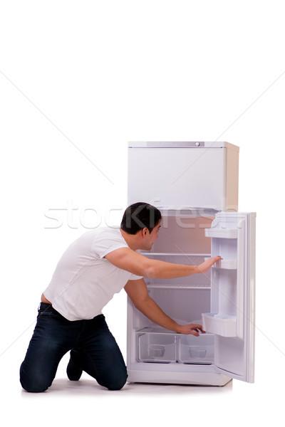 человека глядя продовольствие пусто холодильник счастливым Сток-фото © Elnur