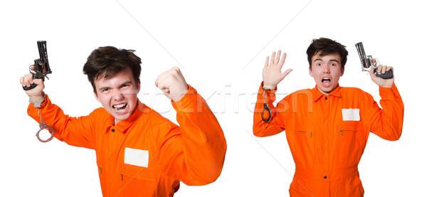 Stok fotoğraf: Komik · hapis · tutuklu · adam · tabanca · intihar