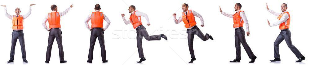 Man zwemvest geïsoleerd blanke man witte kantoor Stockfoto © Elnur