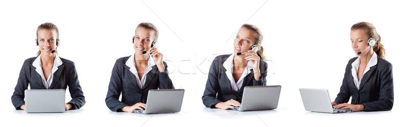 Call center assistant responding to calls Stock photo © Elnur