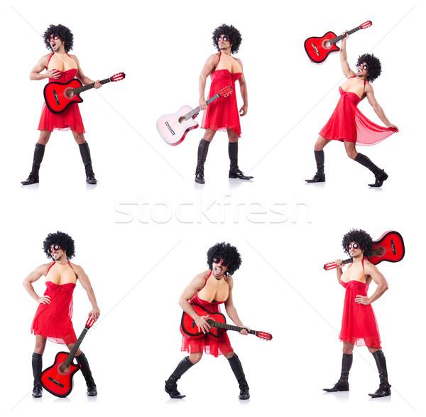 Man vrouw kleding gitaar muziek kunst Stockfoto © Elnur